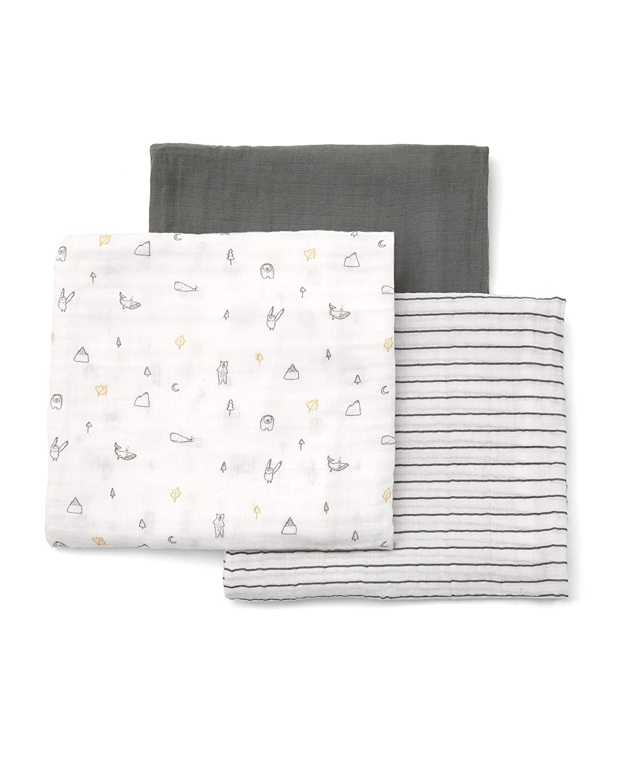 Mamas & Papas 3 Pack Large 100% Cotton Muslin Squares - Grey KATIES PLAYPEN® / BABY BEST BUYS 723346800