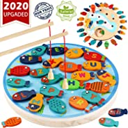 CozyBomB Magnetic Wooden Fishing Game Toy for Toddlers - Alphabet Fish Catching Counting Preschool Board Games Toys for 3 4