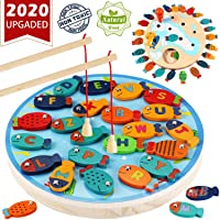 CozyBomB Magnetic Wooden Fishing Game Toy for Toddlers - Alphabet Fish Catching...