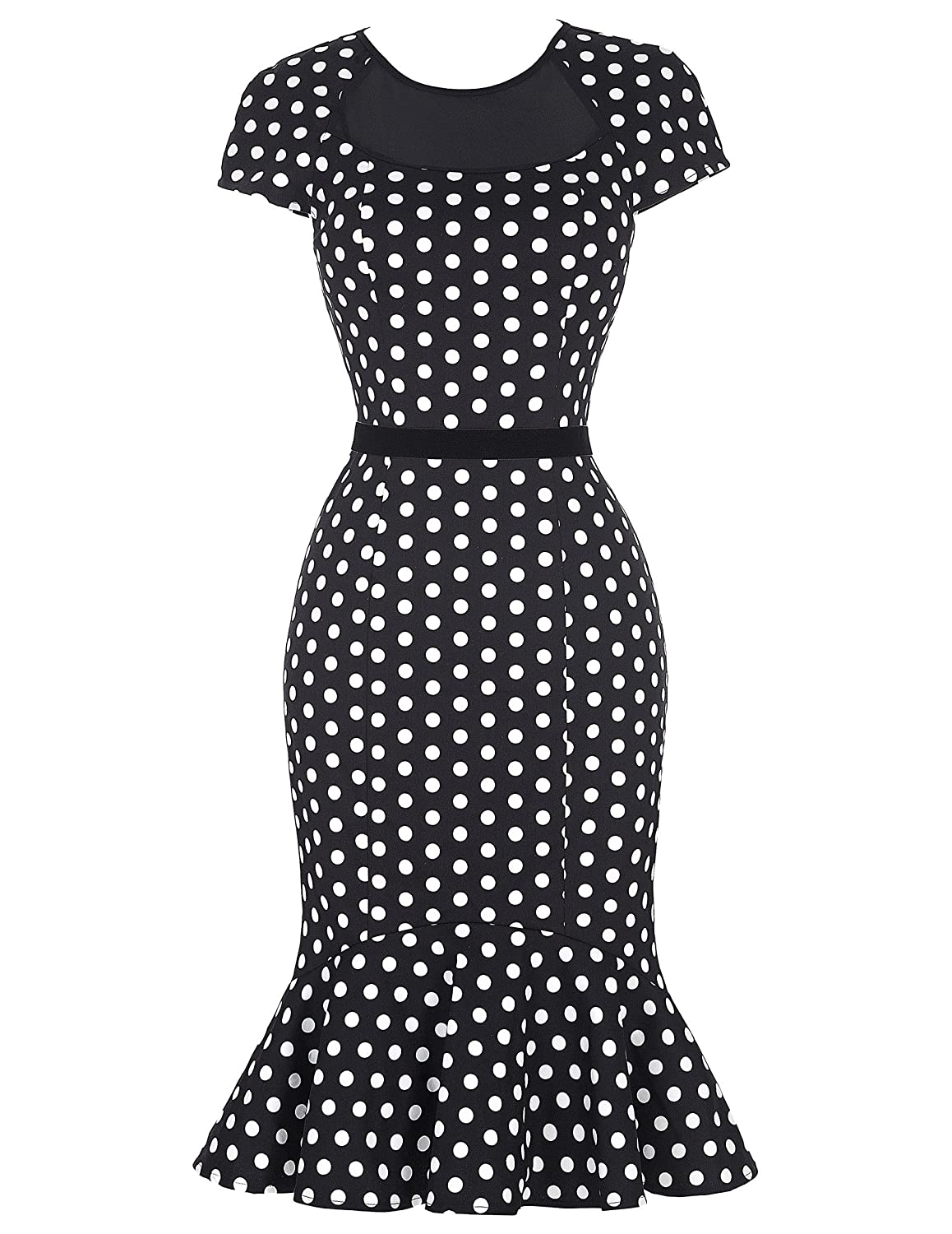 Vintage Polka Dot Dresses – Ditsy 50s Prints Belle Poque Womens Floral Slim Fishtail Bodycon Dresses $16.99 AT vintagedancer.com