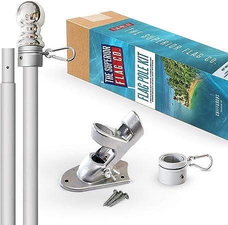 "New Wall Mount Silver Aluminum Spinner Flagpole Decor 6-Feet,1/"" Diameter Pole"