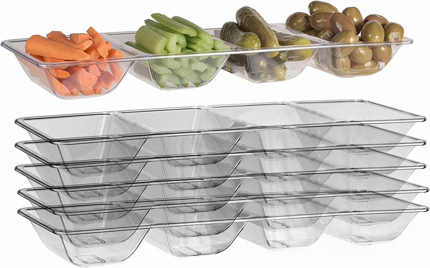 Exquisite 6 Count clear Plastic Compartment Tray For Parties Heavy Duty Serving Tray With Compartments For Food Disposable Sectional Party Trays And Platters 7 In. X 16 In. Candy Dish