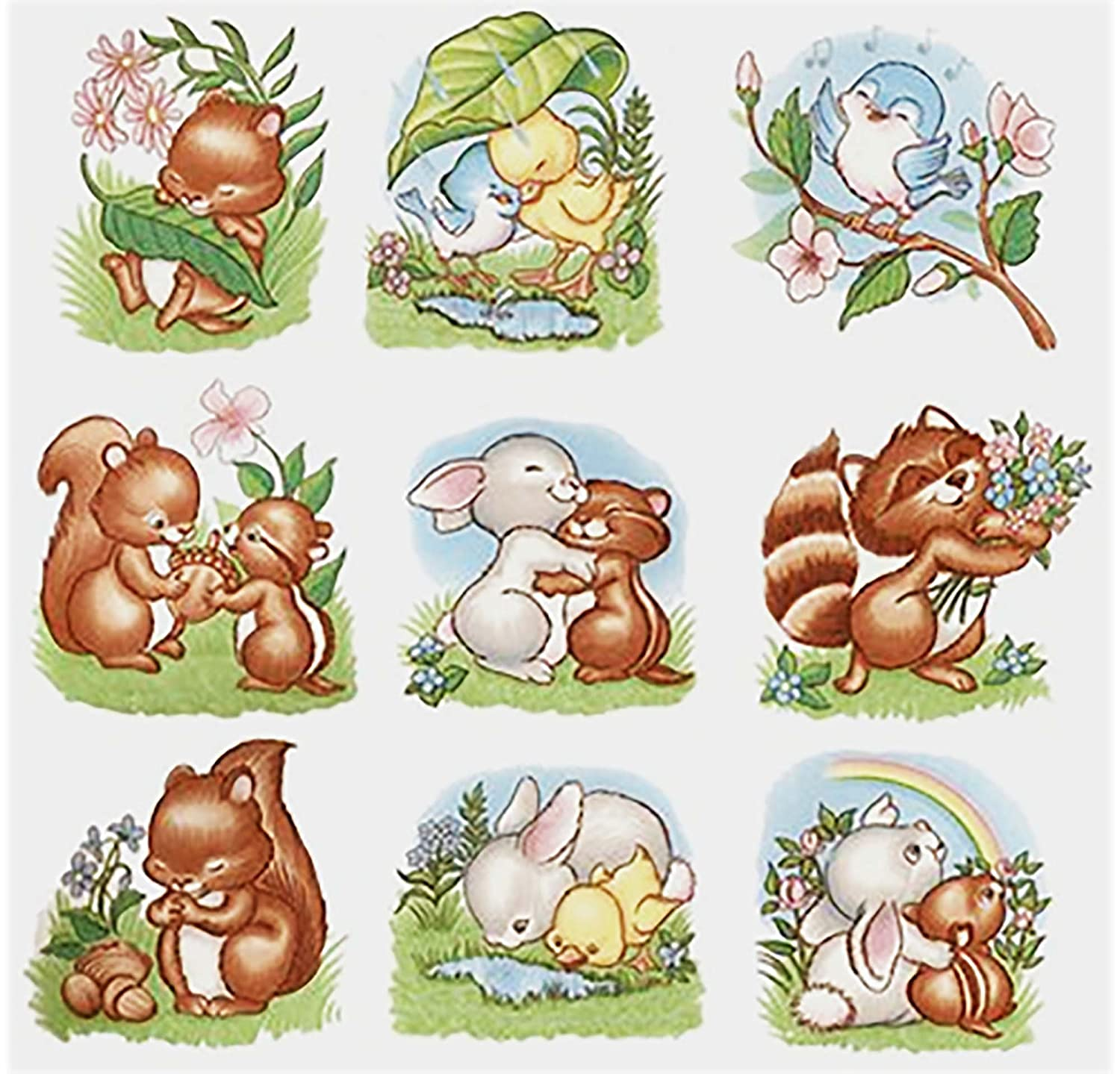 614 Spring Rabbit Squirrel Raccoon Blue Bird Ceramic Decals By The Sheet (Select-A-Size) (53 pcs 1-1/2