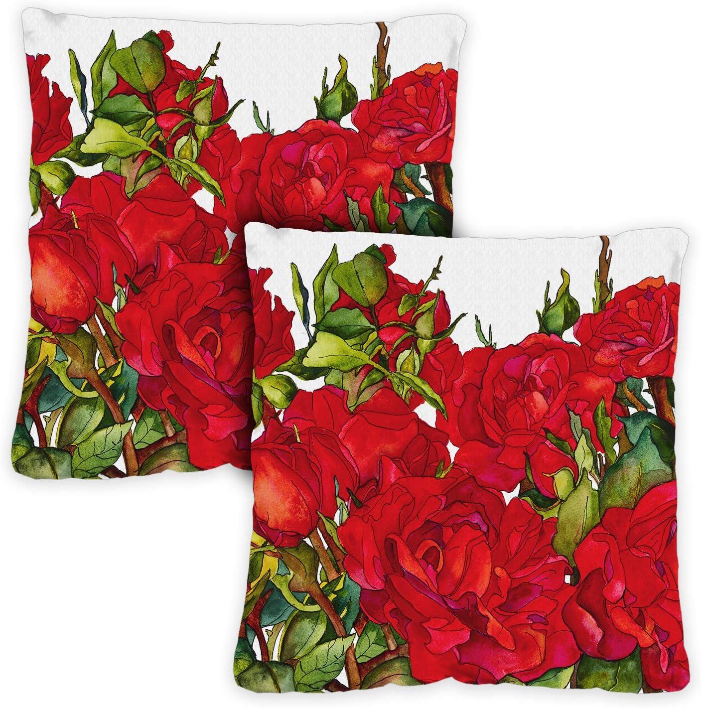Toland Home Garden Rosette Blooms 18 x 18 Inch Indoor/Outdoor, Pillow Case (2-Pack)