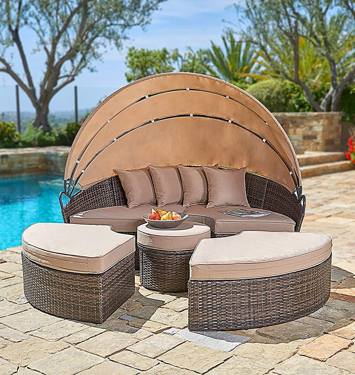 SUNCROWN Outdoor Patio Round Daybed 6 Piece Brown Wicker Patio Furniture with Retractable Canopy | Clamshell Sectional Seating w/Table | All-Weather Washable Cushions | Patio, Backyard, Porch, Pool