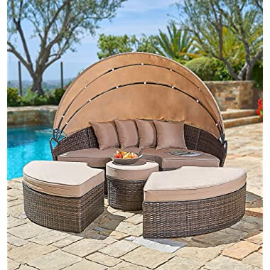 SUNCROWN Outdoor Patio Round Daybed with Retractable Canopy   Brown Wicker Furniture Clamshell Sectional Seating w/Table   All-Weather Washable Cushions   Patio, Backyard, Porch, Pool