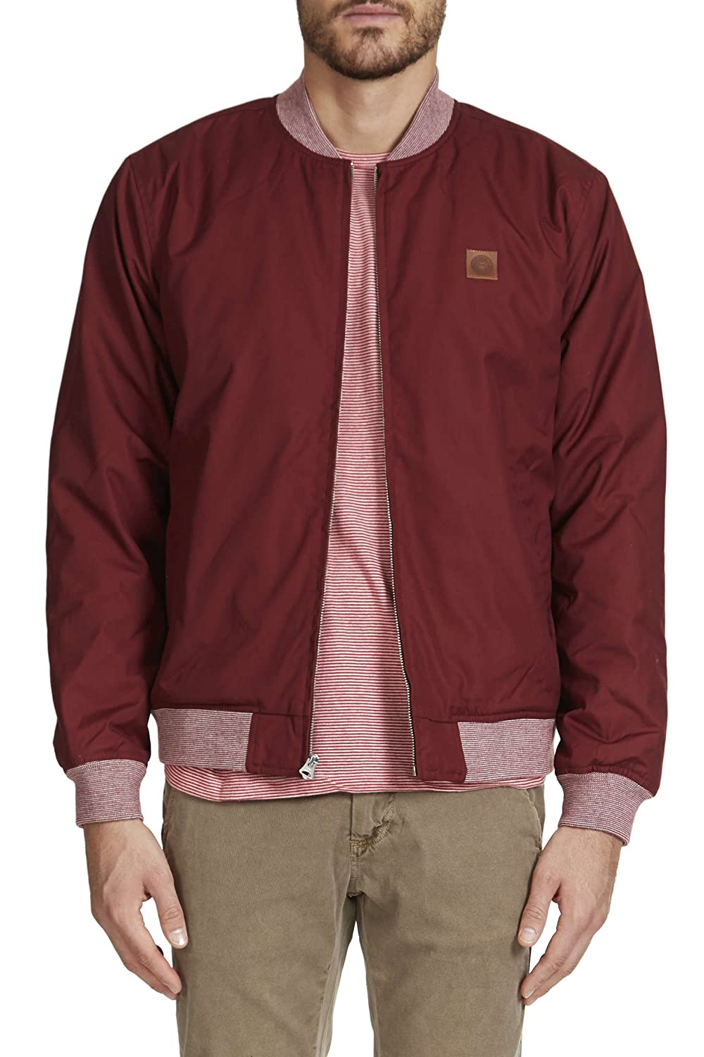 OBEY Bomber Chaqueta Stevenson Full Zip Leather Patch ...