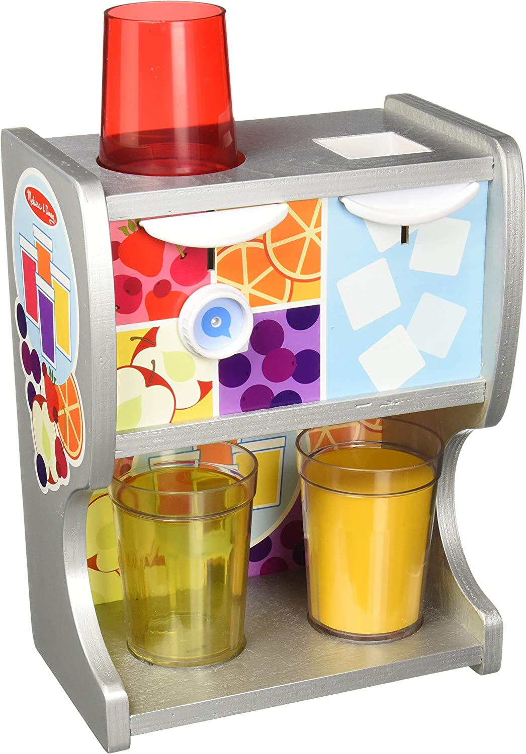 Melissa & Doug 19300 Wooden Drink Cups, Juice Inserts, Ice Cubes (10 Pcs) Thirst Quencher Dispenser,