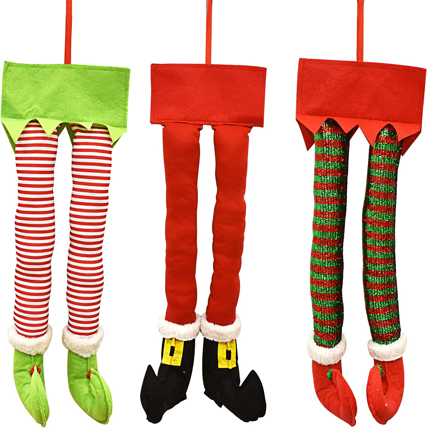 Gift Boutique Christmas Santa and Elf Legs Plush Stuffed Feet with Shoes, Stuck in Christmas Tree Décor Green and White Colors Set of 3 Decorative Ornament Decorations 23 inches long