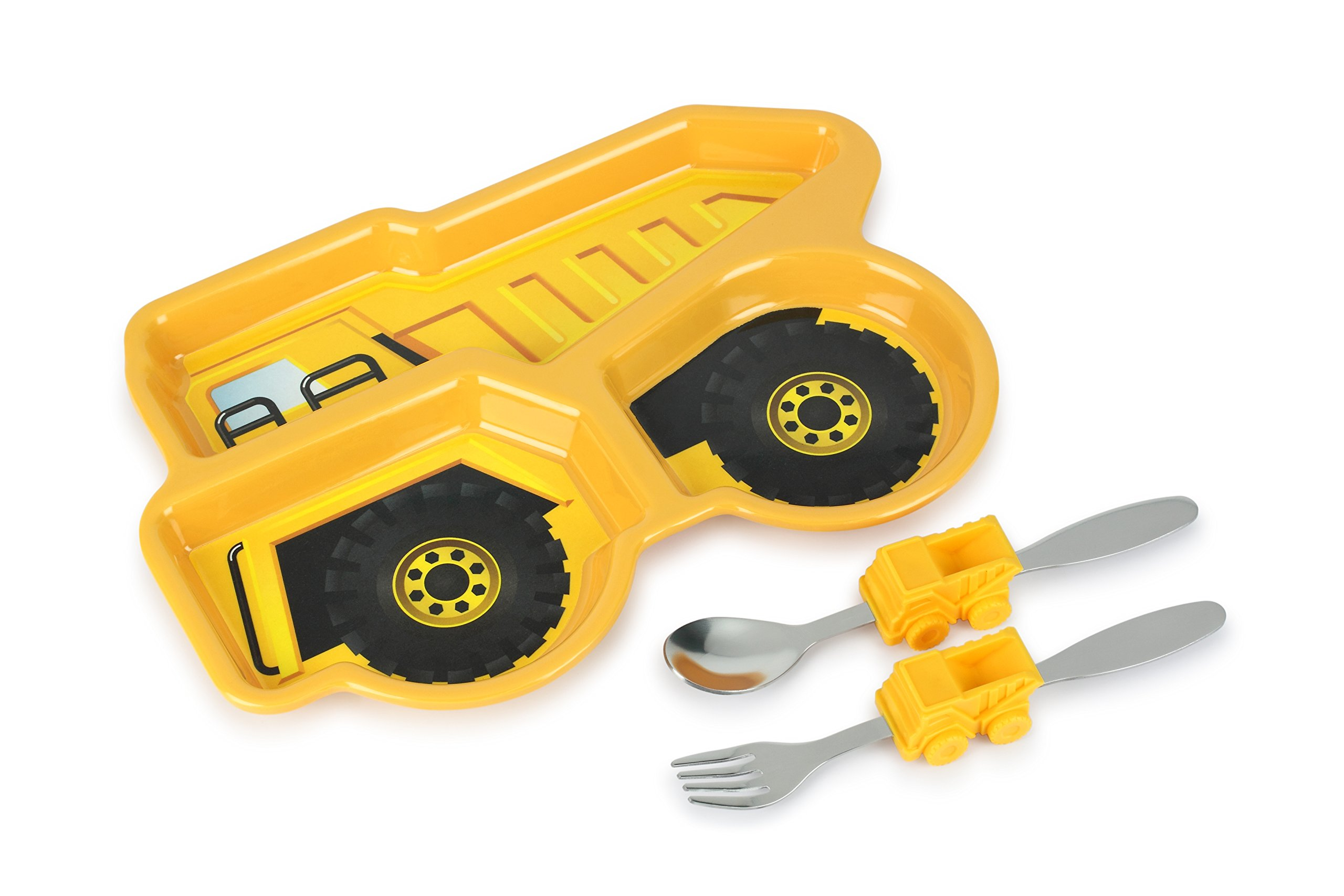 KidsFunwares Me Time Meal Set (Dump Truck) – 3-Piece Set for Kids and Toddlers – Plate, Fork and Spoon that Children Love - Sparks your Child's Imagination & Teaches Portion Control - Dishwasher Safe