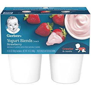 Gerber Yogurt Blends,Strawberry, 4-Count, 3.5-Ounce Cups (Pack of 6)