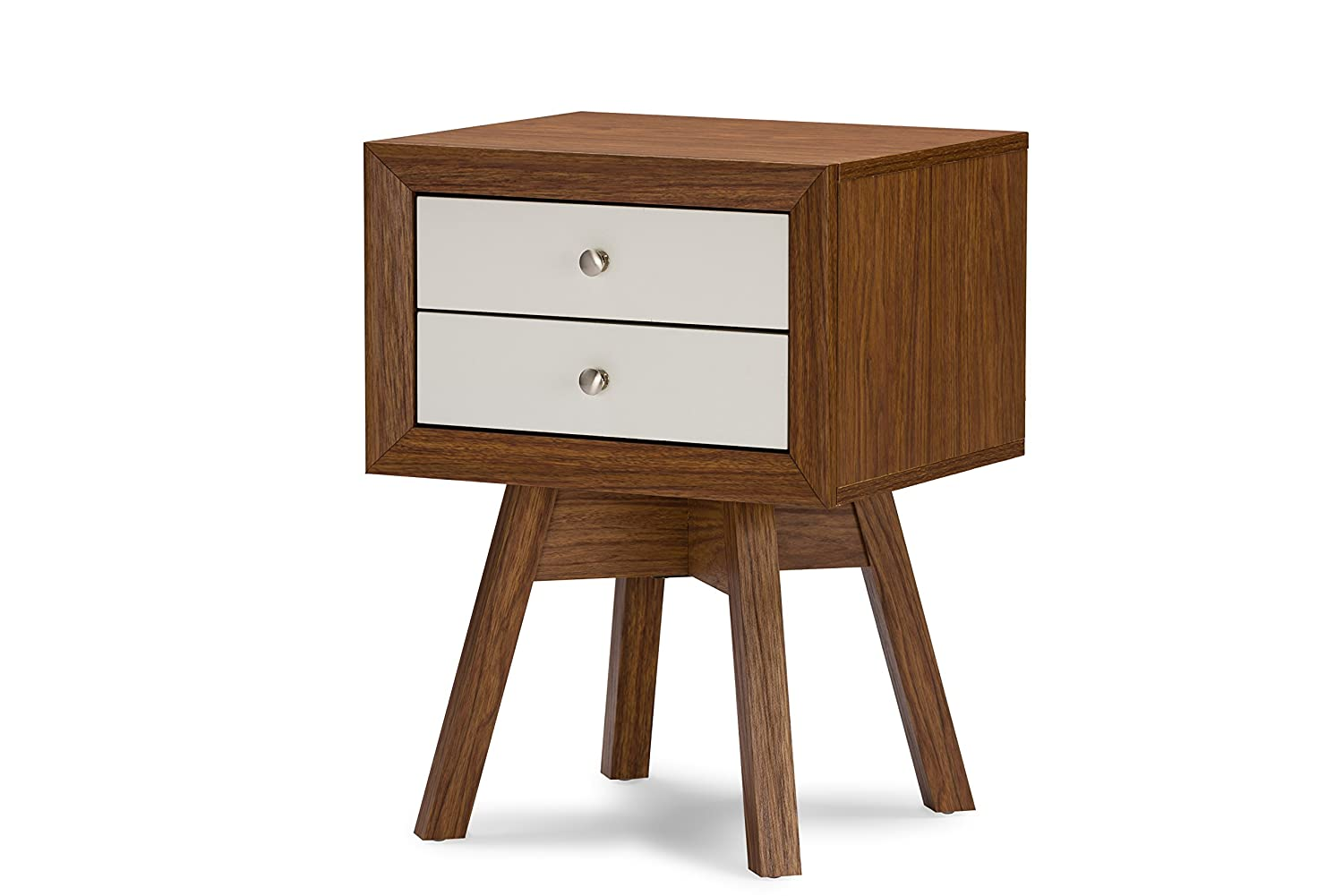 Merveilleux Amazon.com: Baxton Studio Warwick Two Tone Modern Accent Table And  Nightstand, Walnut/White: Kitchen U0026 Dining