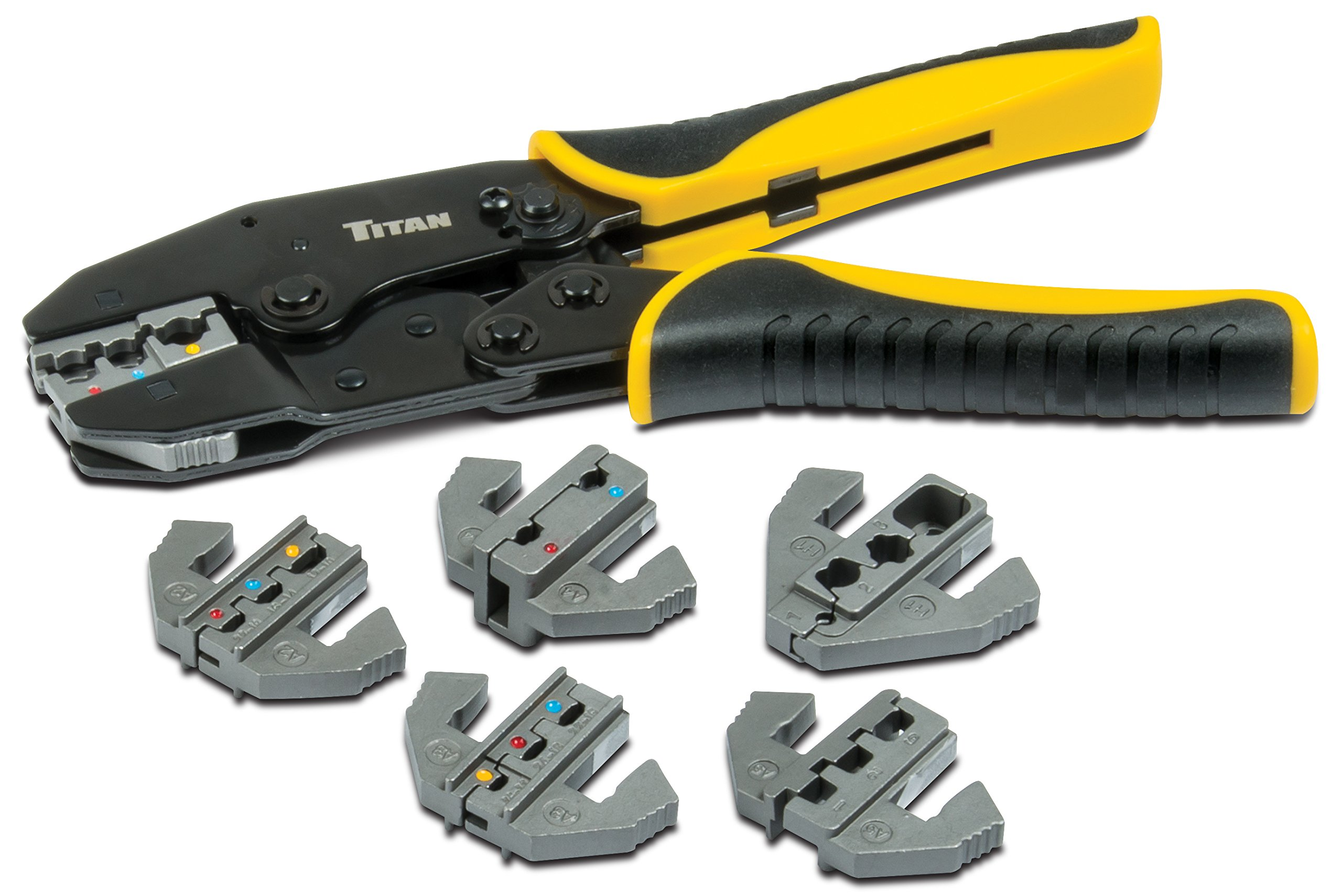 Titan Tools 11950 Ratcheting Wire Terminal Crimping Set, 7-Piece by Titan Tools