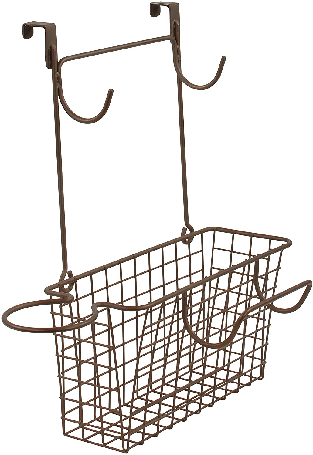 Spectrum Diversified Grid Wide Hair Station Basket Over the Cabinet Door Steel Wire Bathroom Organizer, Includes Hooks for Styling Tools & Loop for Blow Dryer, Bronze: Home & Kitchen