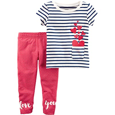 Carter's Baby Girls' French Terry Striped Top and Polka Dot Leggings Set
