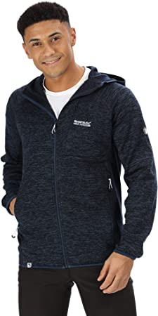 Regatta Mens Cartersville VI Full-Zip Marl Knit Effect Extol Stretch Hooded Fleece