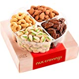 Holiday Nuts Gift Basket, 4-Sectional Elegant Mixed Nuts Assortment, Gourmet Christmas Food Box Prime Gift, Great for…
