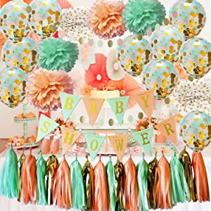Qian's Party Mint Peach Baby Shower Decorations Neutral Glitter Gold Polka Dot Pom Pom Mint Peach Gold Confetti Balloons for Girl Sweet as a Peach Baby Shower Decorations Peach Mint Baby Shower Banner
