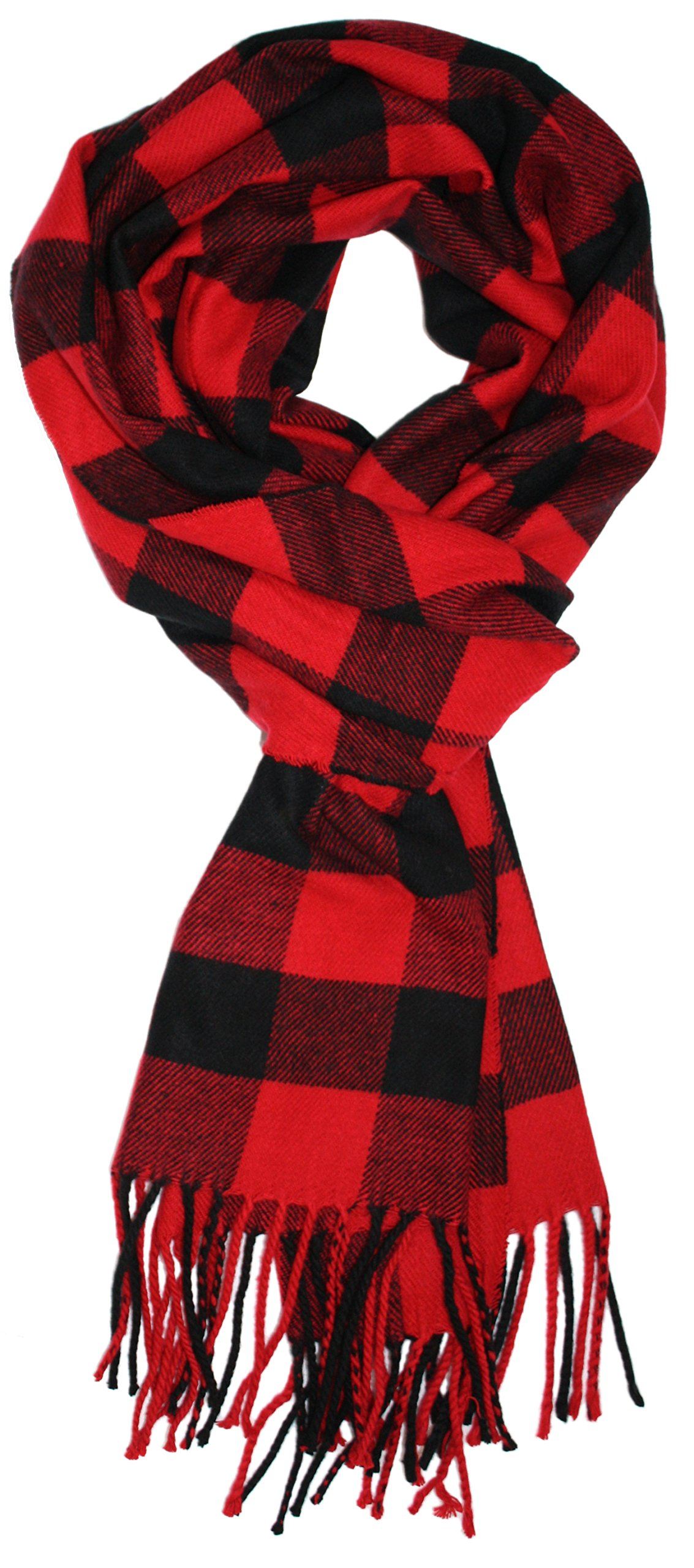 Ted and Jack - Jack's Classic Cashmere Feel Buffalo Check Scarf in Black and Red