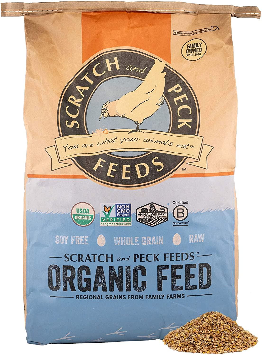 Scratch and Peck Feeds Organic Layer Feed with Corn for Chickens and Ducks - Non-GMO Project Verified and Soy Free