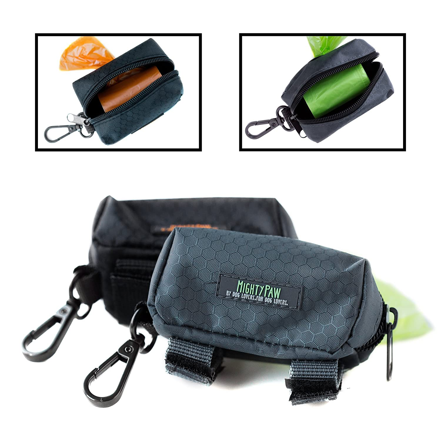 (Grey Green) Mighty Paw Dog Poop Bag Holder, Premium Quality Pick-up Bag Zippered Pouch, Includes Carabiner Hook and 1 Roll of Pick-up Bags