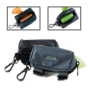 Mighty Paw Dog Poop Bag Holder, Premium Quality Pick-up Bag Zippered Pouch, Includes Carabiner Hook and 1 Roll of Pick-up Bags