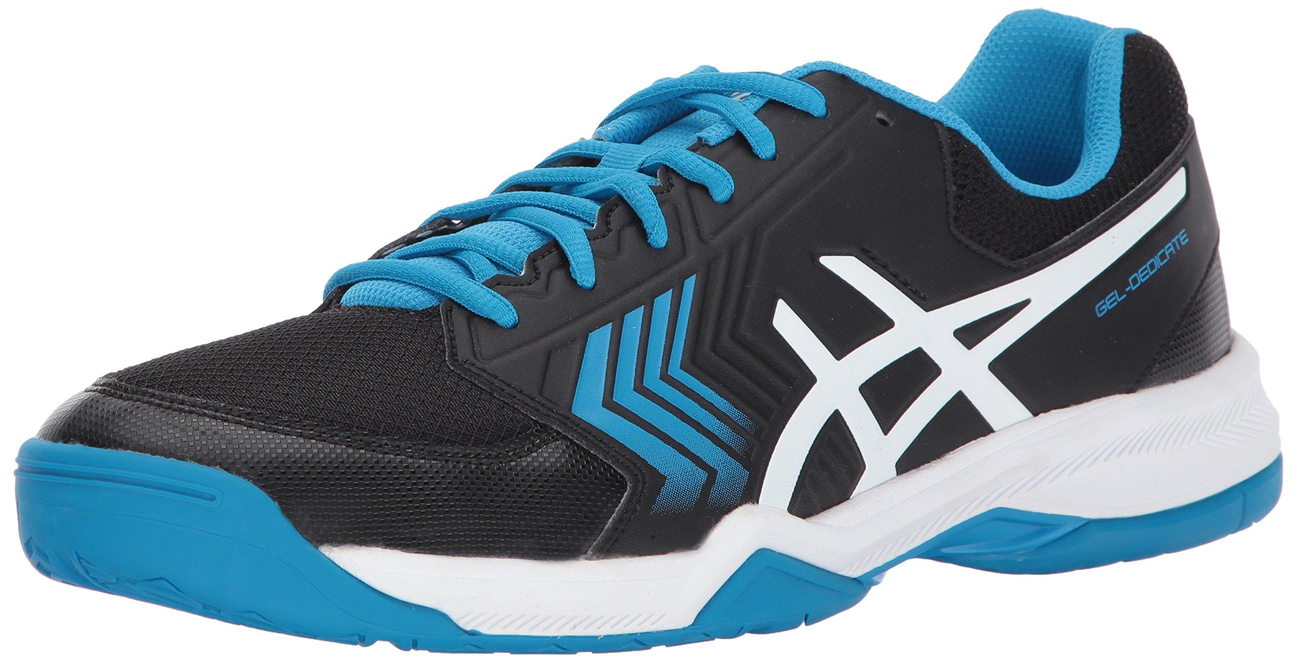 ASICS Mens Gel-Dedicate 5 Tennis Shoe Black/Hawaiian Surf/White 6 Medium US