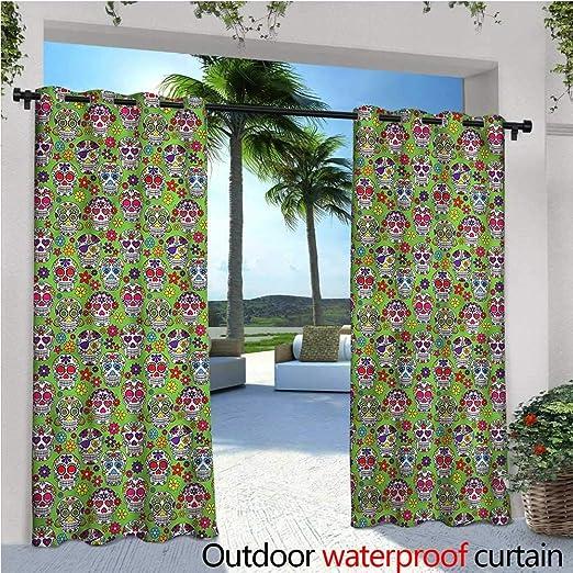 Warm Family Cortina de privacidad para Exteriores, diseño de Calavera, para pérgola étnica, Mexicana, Flores, Aislante térmico, Repelente al Agua, para balcón: Amazon.es: Jardín