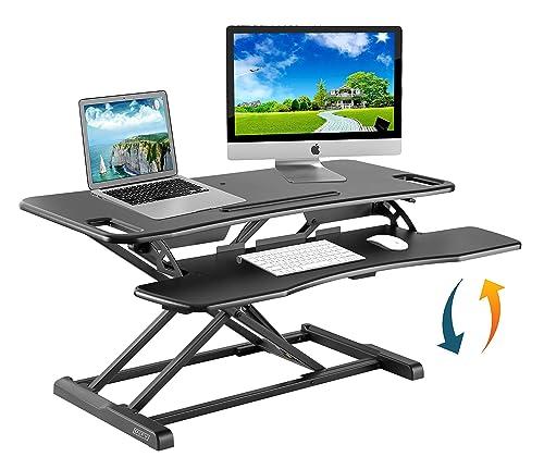 Height Adjustable Standing Desk Converter Ergonomic Sit Stand Black Riser Large Table Top