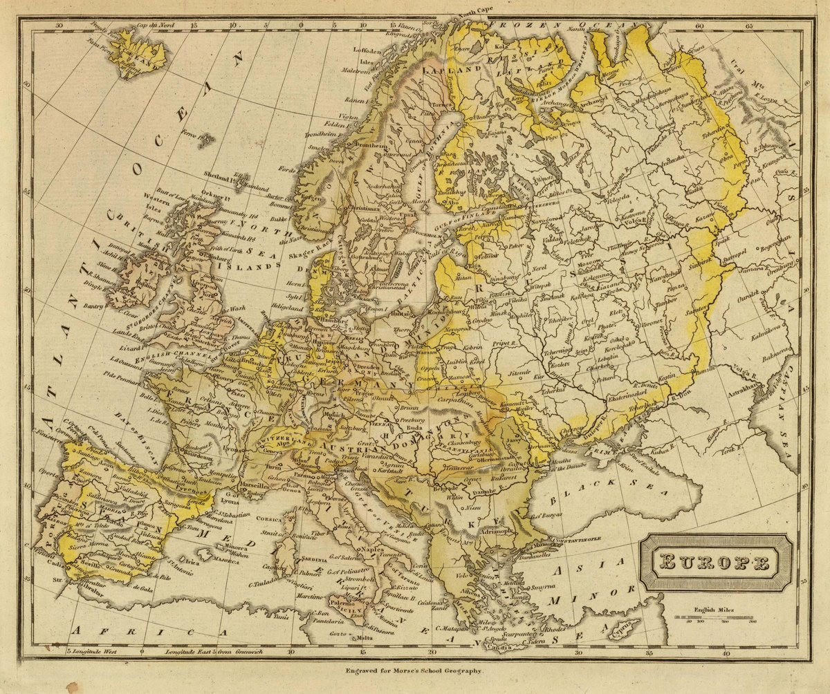 1828 School Atlas | Europe. Engraved for Morse's School geography. (Published by Richardson & Lord. Sold also by Collins & Hannay, New-York, 1828) | Antique Vintage Map Reprint