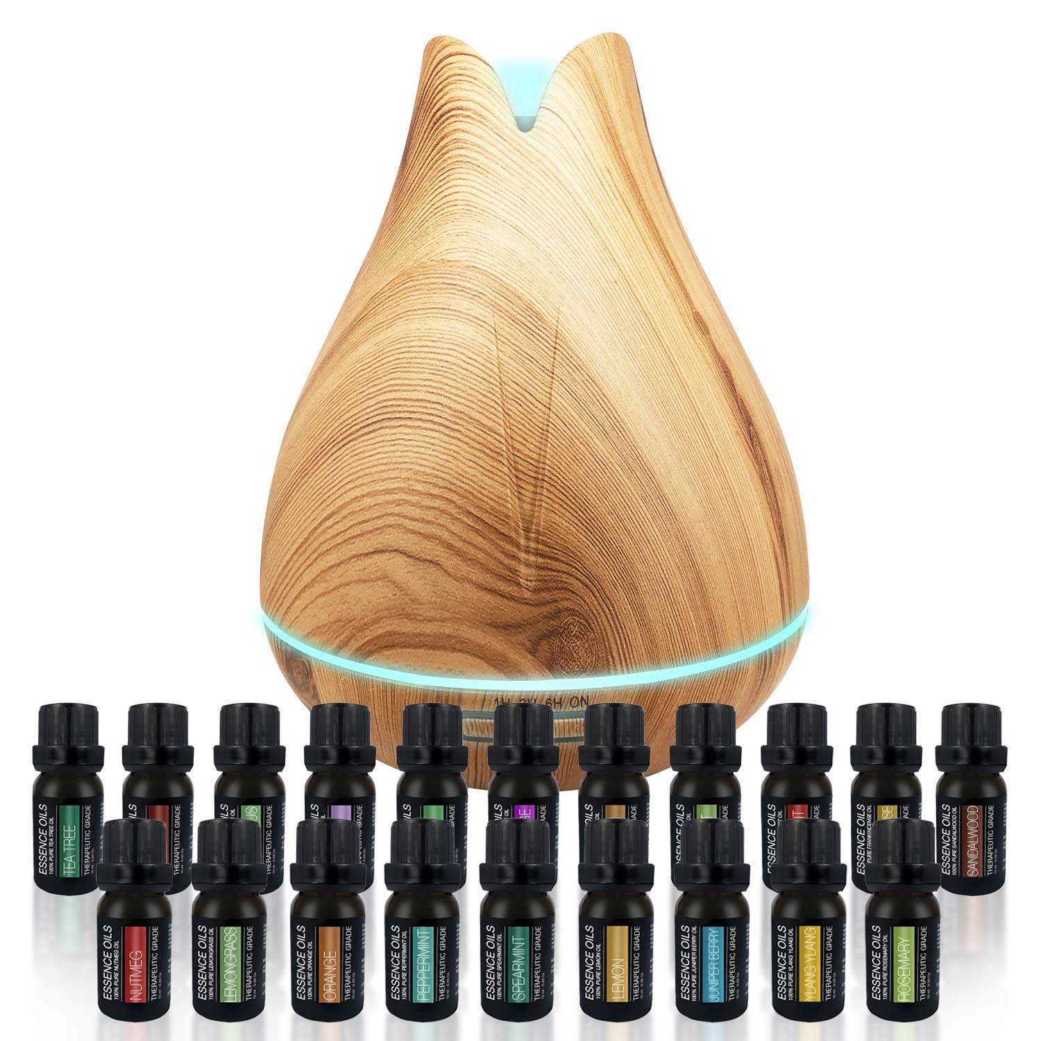 Aromatherapy Essential Oil Diffuser Gift Set - 400ml Ultrasonic Diffuser with 20 Essential Plant Oils