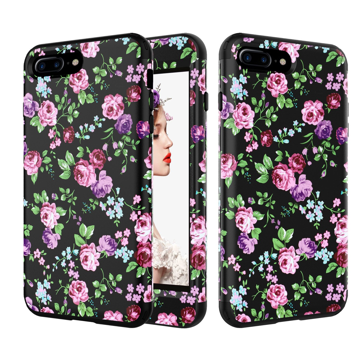iPhone 8 Case Pink Flamingos Design, Gostyle iPhone 7 Cover 3 Layer Protection Hybrid Shockproof Heavy Duty Hard PC + Soft Slicone Rubber High Impact Resistant Cellphone Protective Case