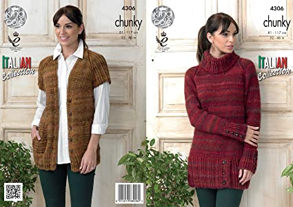 f93b92bc1 Image Unavailable. Image not available for. Colour  King Cole Ladies Venice Chunky  Knitting Pattern Womens Polo Neck Sweater ...