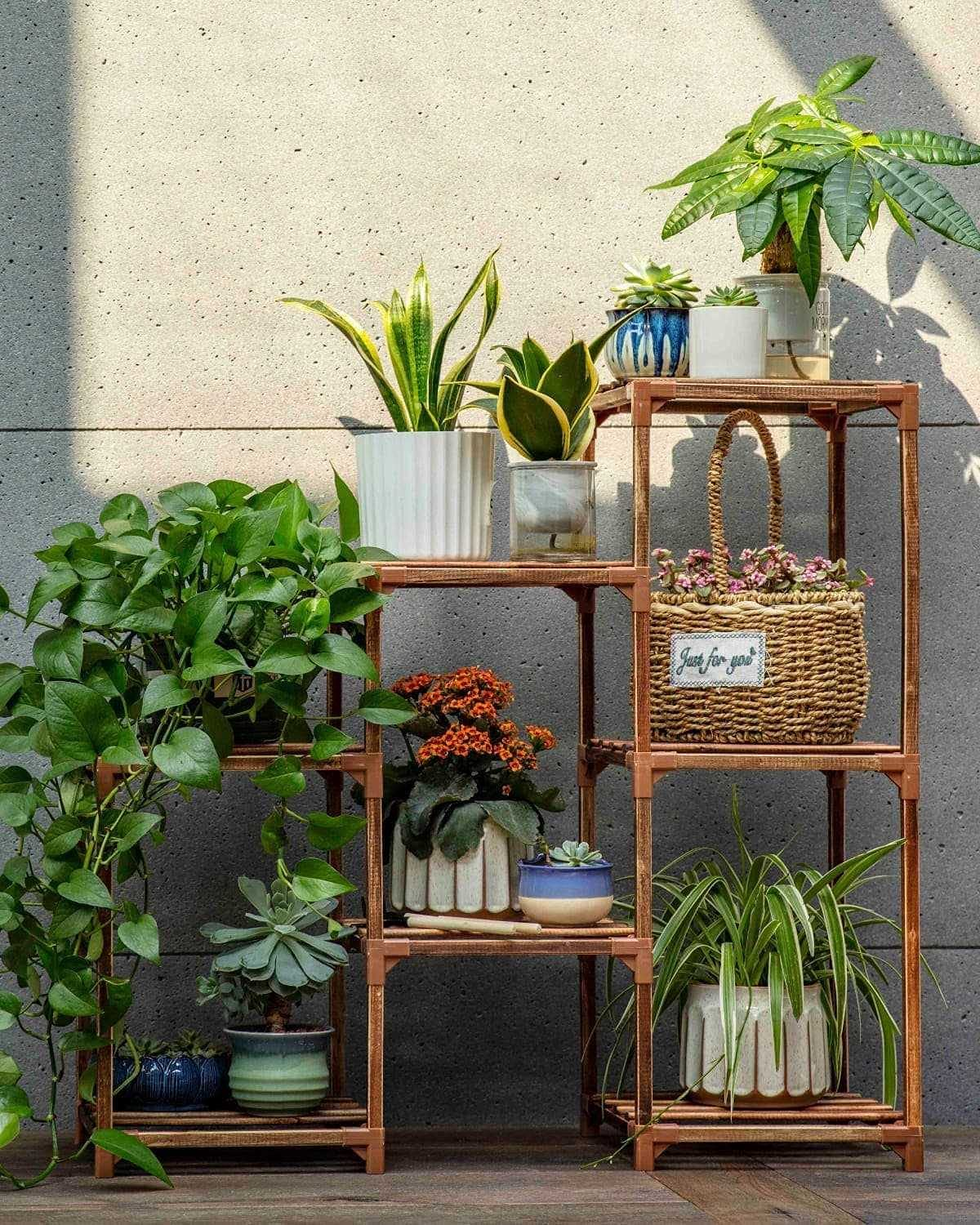 Plant Stands for Indoor Plants, Wood Outdoor Tiered Plant Shelf for Multiple Plants, 3 Tire 7 Potted Ladder Plant Holder Table Plant Pot Stand for Window Garden Balcony Patio Corner Living Room