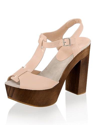 Alba Moda Damen Sandalette mit Sohle und Absatz aus Holz  Amazon.de ... e32a76d5d1