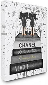 Stupell Industries Glam Fashion Book Stack Grey Bow Pump Heels Ink Stretched Canvas Wall Art, Proudly Made in USA