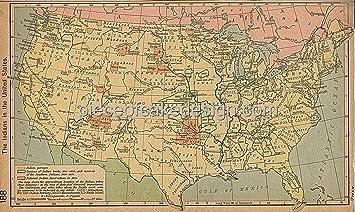 Sheet Vintage US Indians Map Birthday Edible CakeCupcake - Vintage us map