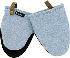 Cuisinart Chambray Neoprene Mini Oven Mitts, 2pk - Heat Resistant Kitchen Gloves to Protect Hands, Non-Slip Grip, Faux Leather Loop - Ideal Set for Handling Hot Cookware, Bakeware - Sky Blue