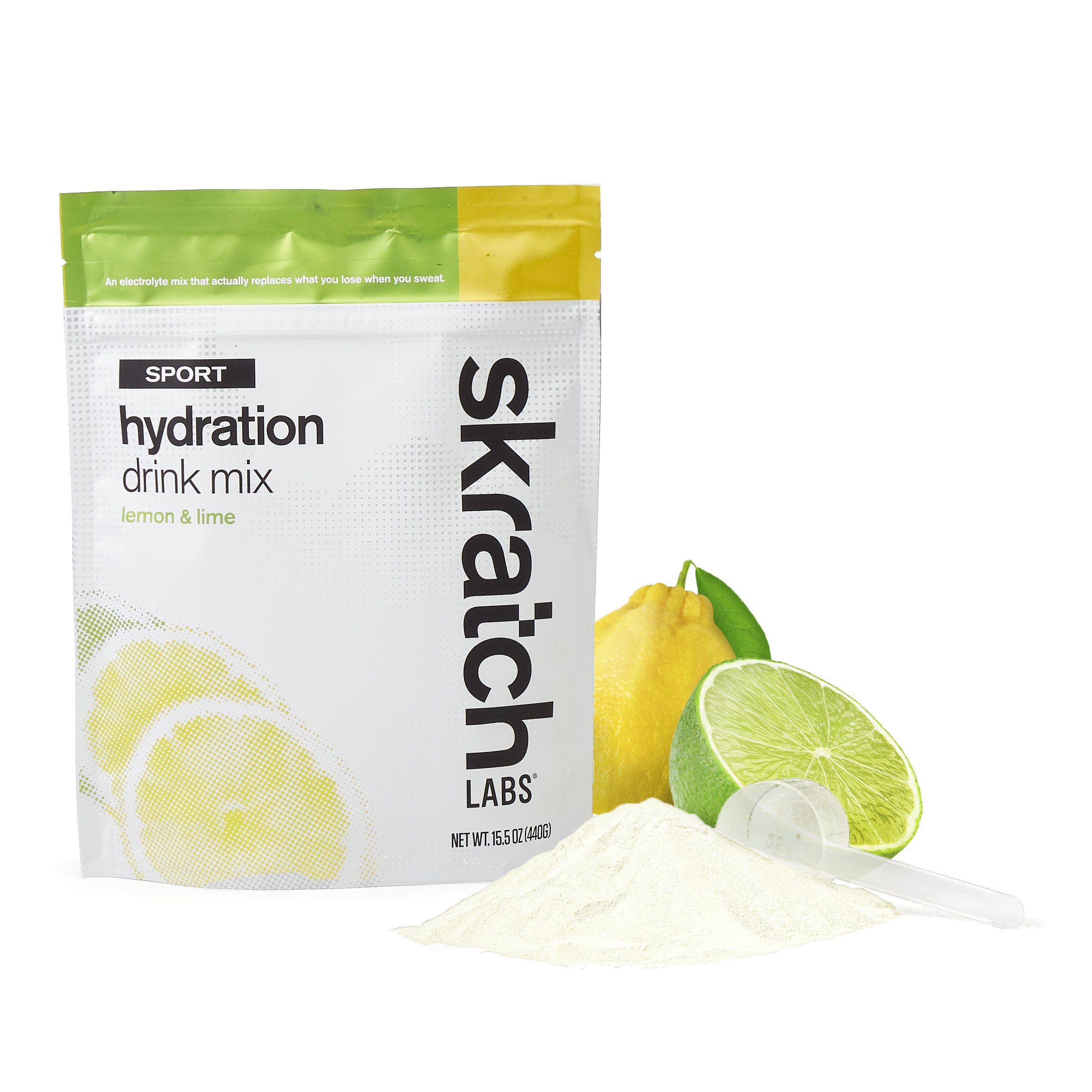 SKRATCH LABS Sport Hydration Drink Mix, Lemon and Lime, 20 serving resealable bag (non-GMO, dairy free, gluten free, kosher, vegan)