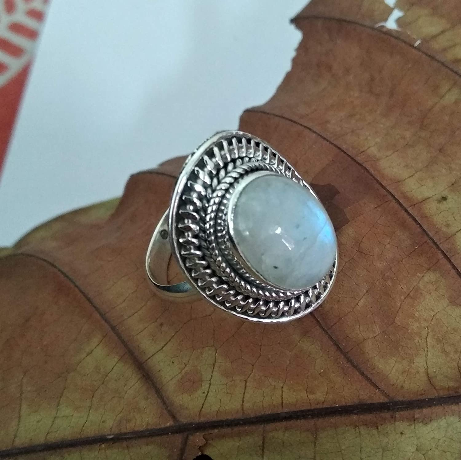 Natural moonstone ring moonstone ring,Real moonstone ring,925 Sterling Silver,wedding ring,Engagement Ring,gift for her