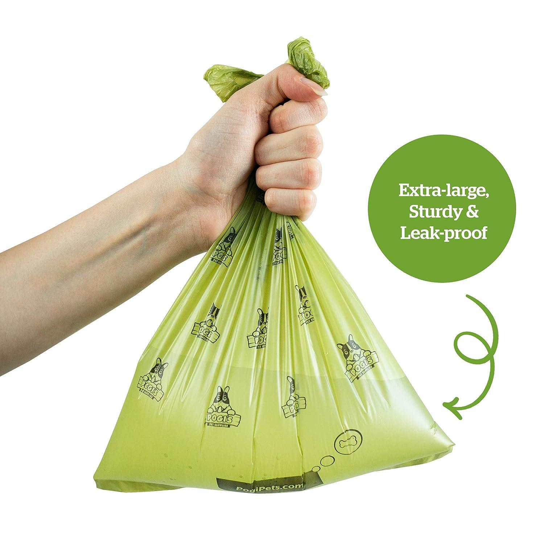 750 Bolsas 50 Rollos Biodegradables + 2 Dispensadores Grandes Pogis Poop Bags Bolsas para excremento de Perro Perfumadas Herm/éticas