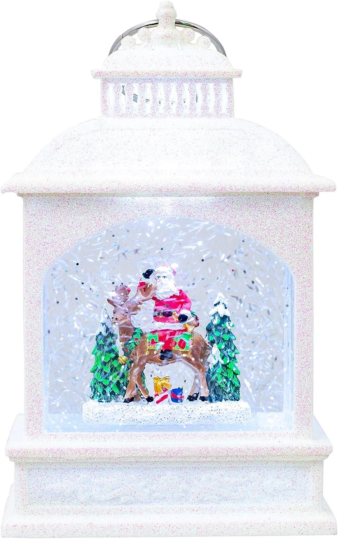 LED Santa On Reindeer Lantern White Glitter 9 inch Acrylic Holiday Snow Globe