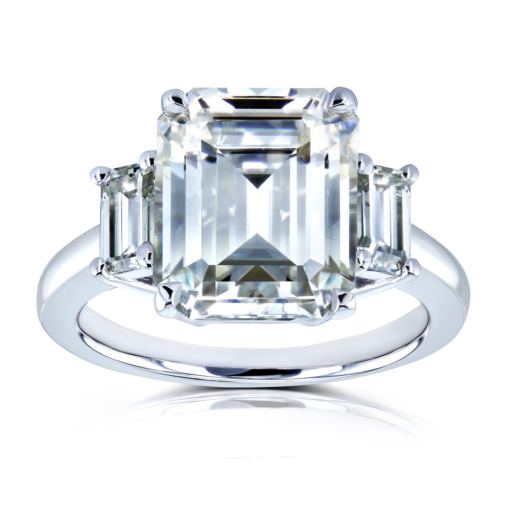 5 1/2 Carat TGW Three Stone Emerald Cut Moissanite Statement Engagement Ring in 14k White Gold - Size 7