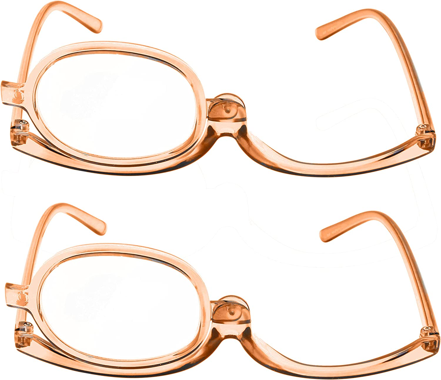 2 Pack Magnifying Makeup Glasses Eye Make up Womens Cosmetic Reading Glasses Spectacles Flip Over Lens Folding (Copper, 1.50)