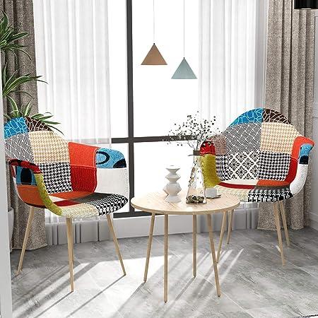 VADIM Set di 2 sedie da Pranzo scandinave Patchwork, sedie nordiche Imbottite in Tessuto Patchwork, sedie Design Solido con Gambe in Metallo, Rovere