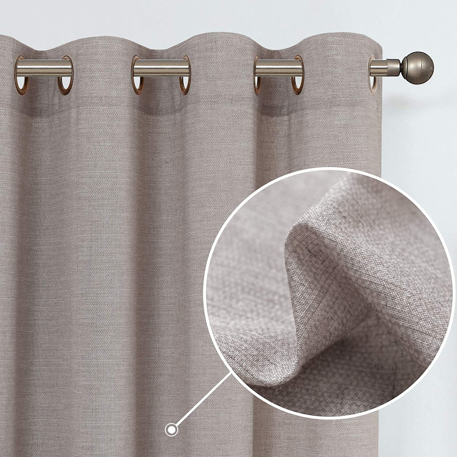 jinchan Linen Textured Curtains for Living Room Grommet Top Window Treatment Set for Bedroom 2 Panels 84 inches Long Gray