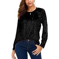 Urban CoCo Women's Vintage Velvet T-Shirt Casual Long Sleeve Top