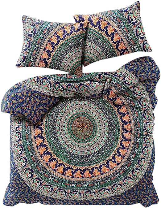 Indian Mandala Bohemian Duvet Cover King//Queen//Twin Size Quilt Cover With Pillow