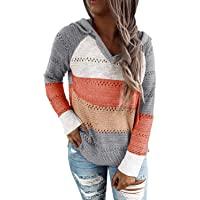 QACOHU Womens Hollow Out Color Block Pullover Sweatshirts Long Sleeve Drawstring Hoodies Sweaters