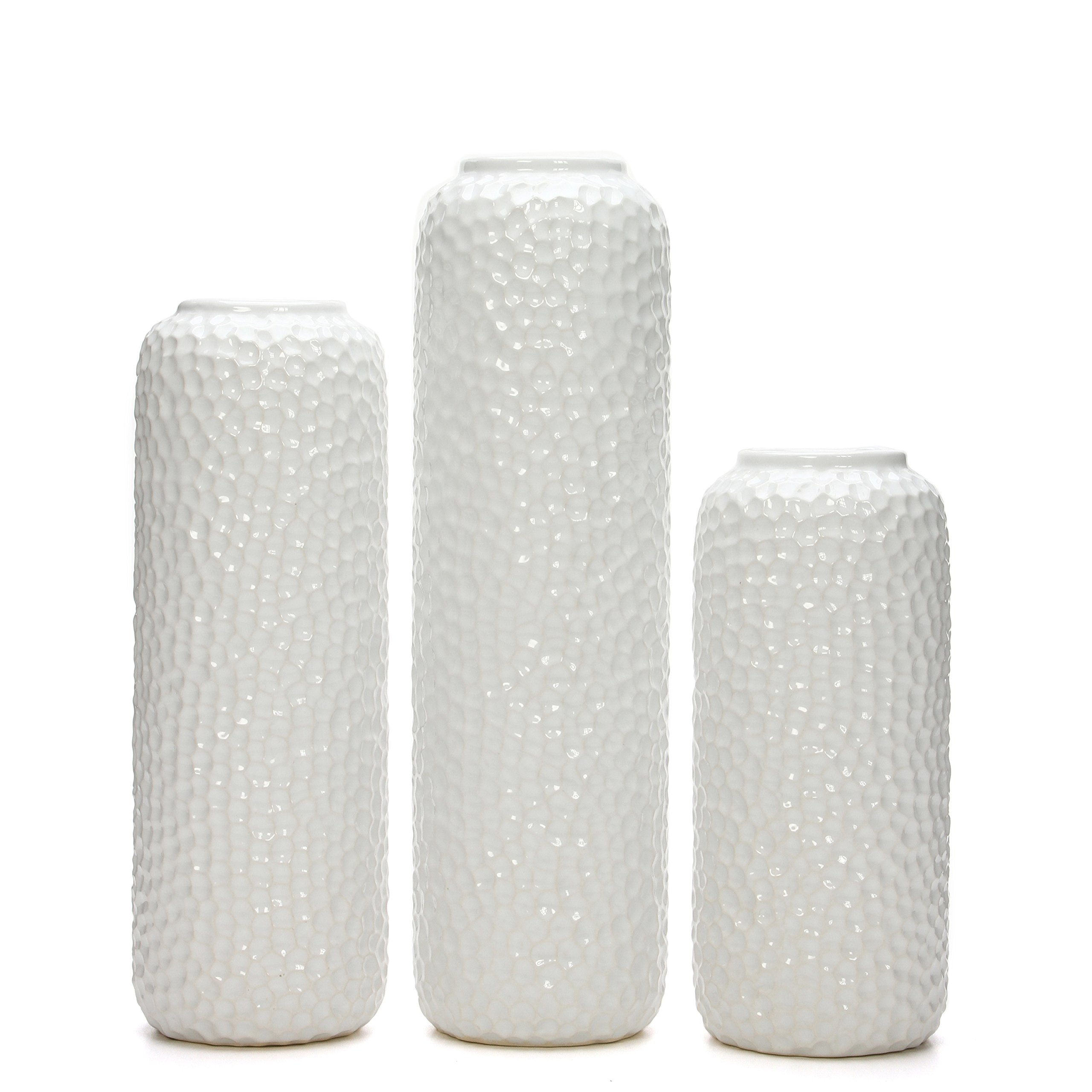 Hosley Set of 3 White Ceramic Honeycomb Vase- Tall 12'', Medium 10'', Short 8'' High Each. Ideal Gift for Wedding, Special Occasion, Dried Floral Arrangements, Home, Office, Spa O4